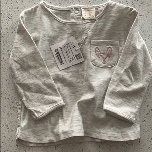 Baby girl Zara heather gray long sleeve top 3-6mos